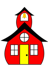 A red schoolhouse with a bell