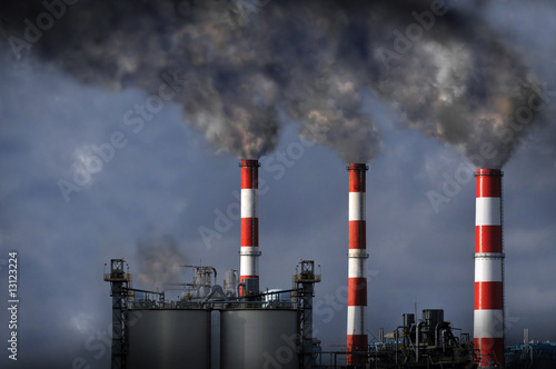 Smokestacks Blowing Smoke - 13123224