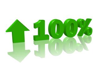 Hausse +100% (3D avec reflet)