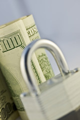 Financial security money under lock