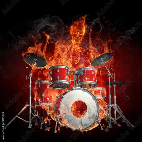 Foto op Aluminium Vlam Drummer