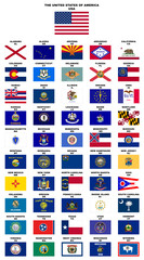 USA : Flags of the States (with names and post codes)