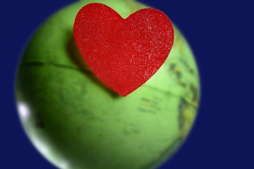 candy valentines heart over the world green global earth map