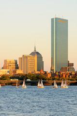Boston Cityscape with Sailboats