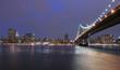 New York and Manhattan Bridge at night