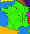 carte de France, mers, villes, fleuves, frontières...en couleurs