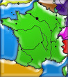 carte muette de France, en couleurs et en relief