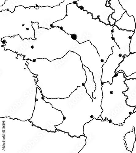 carte de France, mers, villes, fleuves, frontières...