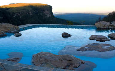 Rock pool with a view over a valley in South Africa
