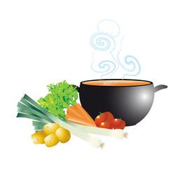 potage fumant dans soupière et légumes