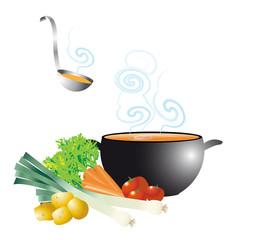 potage fumant dans soupière avec légumes et louche