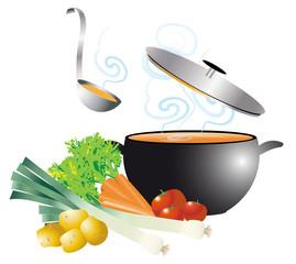 soupe fumante dans marmite et légumes