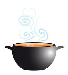 potage fumant dans soupière