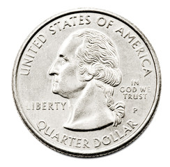 Close-Up Of Us Quarter Dollar