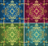 Traditional antique ottoman turkish tile illustration design set