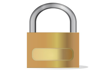 Golden padlock on white with blank field