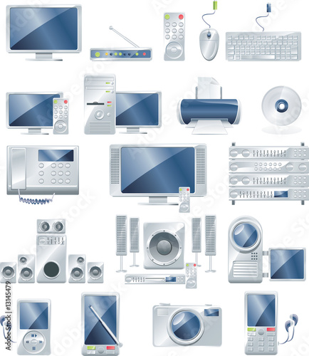 Vector home electronics icon set