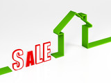 image 3d of green eco sale  house metaphor background poster