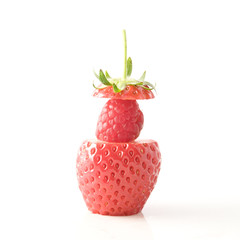 cut strawbery on white background