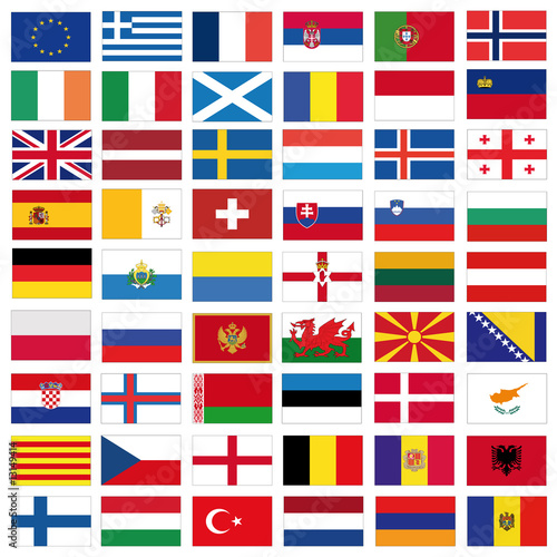 set of vector flags of all european countries