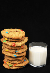Monster cookies and milk