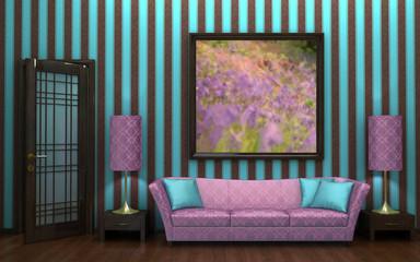 Pinstripe interior featuring mauve damask sofa.