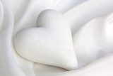 Fototapety White silk with a heart