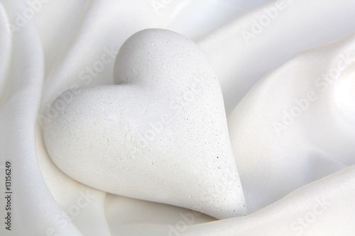 White silk with a heart