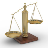 Scales justice on a white background. Isolated 3D image poster