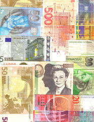 european notes background