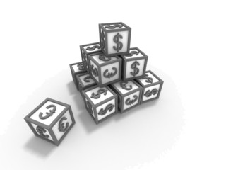 Cubes with $ and EUR signs isolated on white