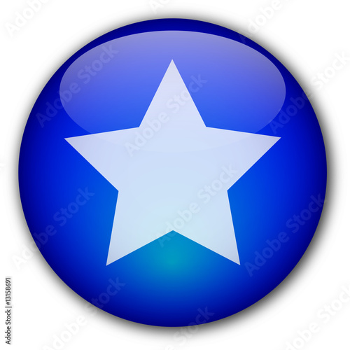 Glassy button with star (blue)
