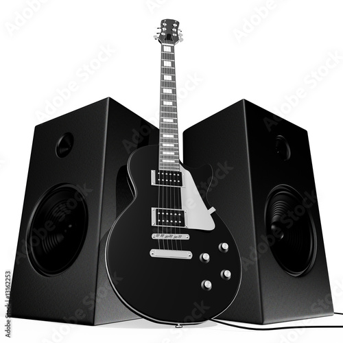 Black rock guitar and speakers