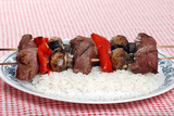 beef kabobs with vegetables