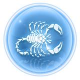 Scorpio zodiac icon ice, isolated on white background. poster