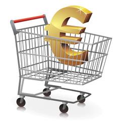 Chariot de supermarché en euro (reflet)