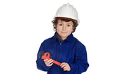 Adorable boy dressed of repairman poster