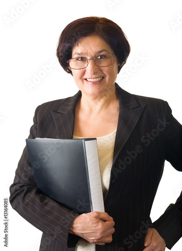 Mature secretary, teacher or businesswoman on white