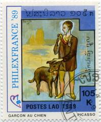 Garçon au chien. Poste du Laos. Picasso.1989.