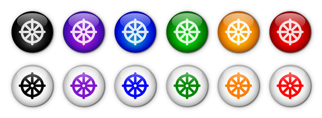 """Buddhism - Wheel of Dharma"" Buttons (x12)"