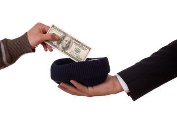 beggar and businessman