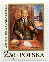 W. Lenin Polska. Timbre postal. 1980.