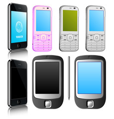 Set of vector moder mobile phone.