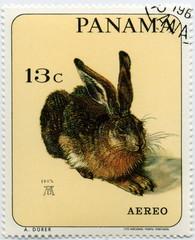 Timbre Panama Aero. Lapin. A. Dûrer.