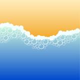 Coastline with foam. Vector illustration. poster