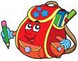 Красная школы сумка - векторные иллюстрации. stock photography.