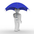 man under umbrella. Isolated 3D image