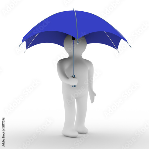 man under umbrella. Isolated 3D image