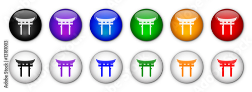 """Shinto Torii"" Buttons (x12 - various colours)"