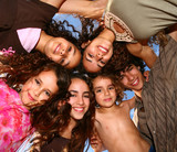 Family of 6 Happy Kids Smiling Overhead poster